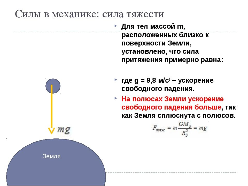 Силы в механике: сила тяжести Для тел массой m, расположенных близко к поверх...