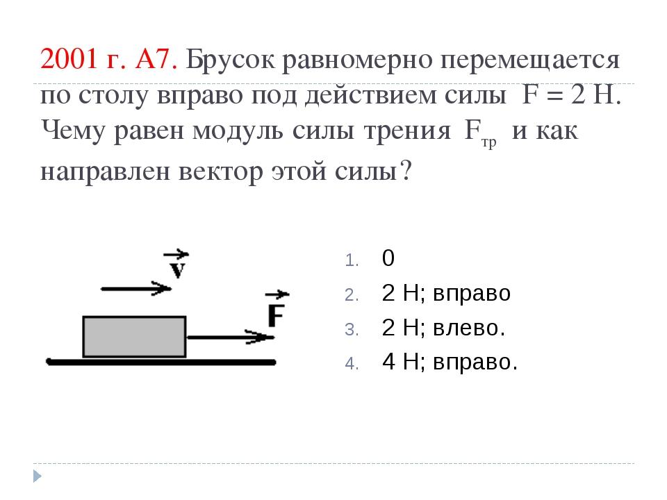 2001 г. А7. Брусок равномерно перемещается по столу вправо под действием силы...