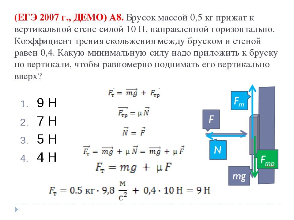 (ЕГЭ 2007 г., ДЕМО) А8. Брусок массой 0,5кг прижат к вертикальной стене сило...