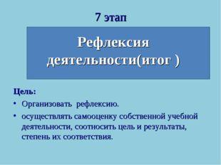 7 этап Рефлексия деятельности(итог ) Цель: Организовать рефлексию. осуществля