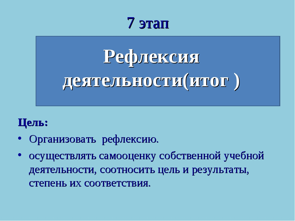 7 этап Рефлексия деятельности(итог ) Цель: Организовать рефлексию. осуществля...