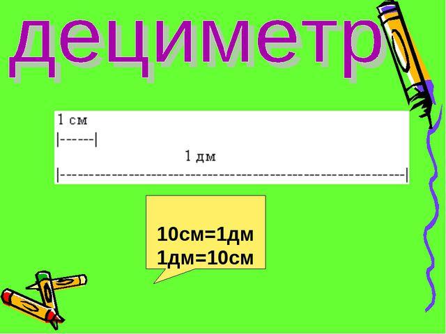 10см=1дм 1дм=10см
