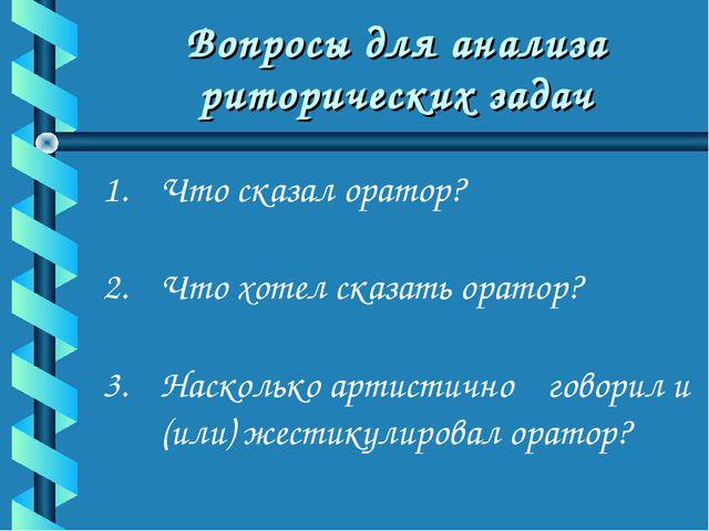 Вопросы для анализа риторических задач Что сказал оратор? Что хотел сказать...