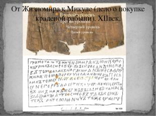 От Жизномира к Микуле (дело о покупке краденой рабыни). XIIвек.
