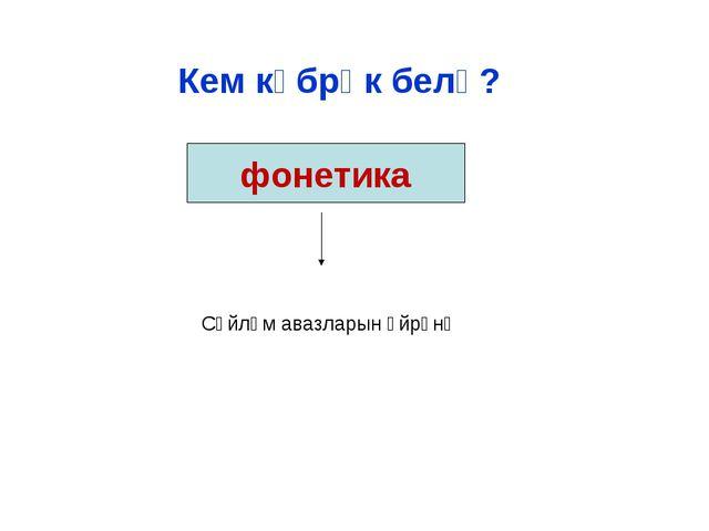 Сөйләм авазларын өйрәнә Кем күбрәк белә? фонетика