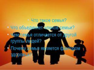 Что такое семья? Что объединяет членов семьи? Чем семья отличается от другой