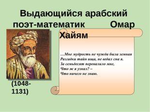 Выдающийся арабский поэт-математик Омар Хайям (1048-1131)