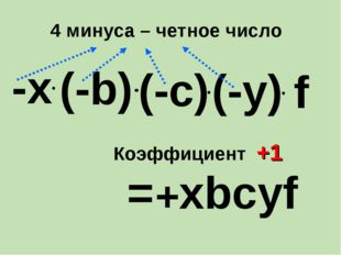 -х = хbcуf + (-b) (-у) (-c) f Коэффициент +1 4 минуса – четное число