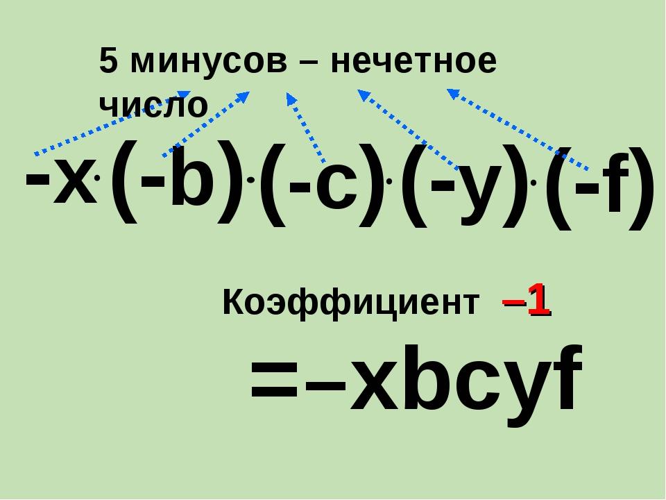 (-c) -х = хbcуf – (-b) (-у) (-f) Коэффициент –1 5 минусов – нечетное число