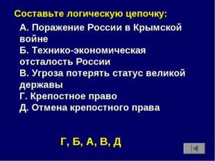 Составьте логическую цепочку: А. Поражение России в Крымской войне Б. Техник