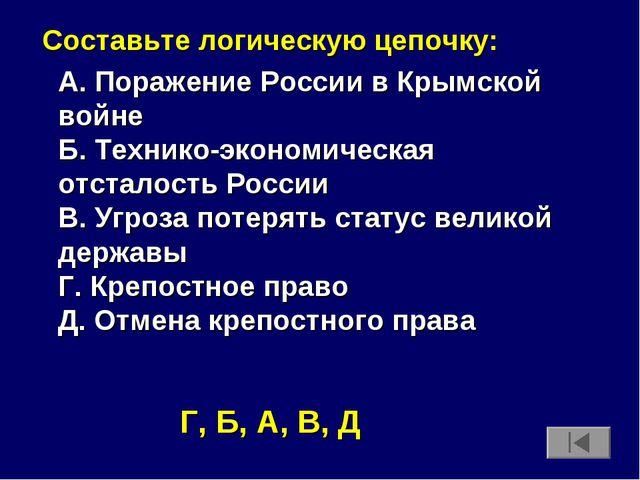 Составьте логическую цепочку: А. Поражение России в Крымской войне Б. Техник...