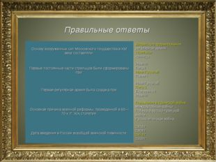 Правильные ответы Основу вооруженных сил Московского государства в XVI веке с