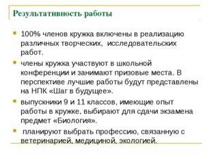 Результативность работы 100% членов кружка включены в реализацию различных тв