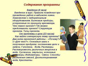 Содержание программы Введение (4 часа) Введение в курс. Правила поведения при