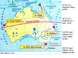 10°41′ оңт. ендіктегі Йорк мүйісі 39°11′ оңт. ендіктегі оңт.-шығ. мүйі 113°05