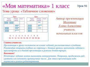 «Моя математика» 1 класс Урок 91 Тема урока: «Табличное сложение» Советы учит
