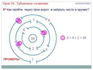5 + 4 + 1 = 10 5* Как пройти через трое ворот и набрать число в кружке? Урок