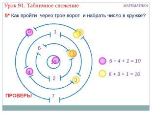 5 + 4 + 1 = 10 6 + 3 + 1 = 10 5* Как пройти через трое ворот и набрать число