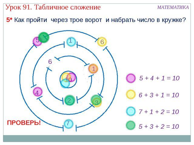 5 + 4 + 1 = 10 6 + 3 + 1 = 10 7 + 1 + 2 = 10 5* Как пройти через трое ворот и...