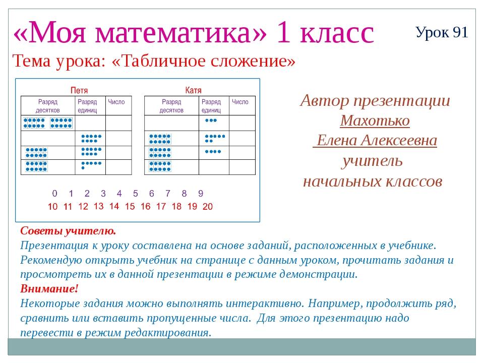 «Моя математика» 1 класс Урок 91 Тема урока: «Табличное сложение» Советы учит...