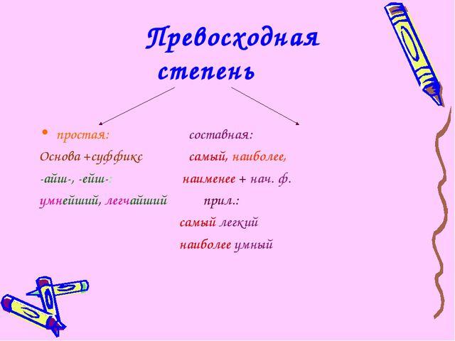 Превосходная степень простая: составная: Основа +суффикс самый, наиболее, -а...