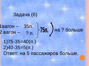 Задача (б) 1вагон – 2 вагон – 35п. ? п. на ? больше 1)75-35=40(п.) 2)40-35=5