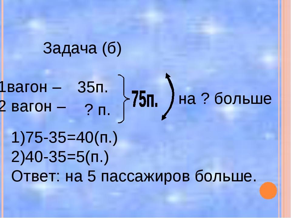 Задача (б) 1вагон – 2 вагон – 35п. ? п. на ? больше 1)75-35=40(п.) 2)40-35=5...