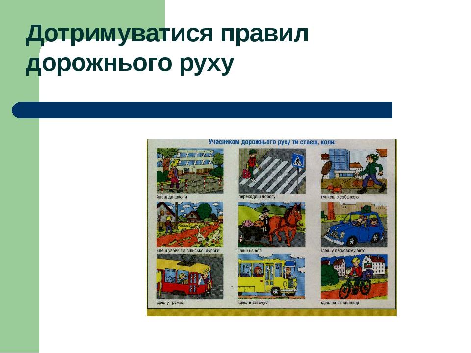 Дотримуватися правил дорожнього руху