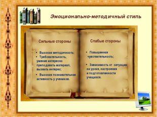 Сильные стороны Слабые стороны Высокая методичность; Требовательность, умение