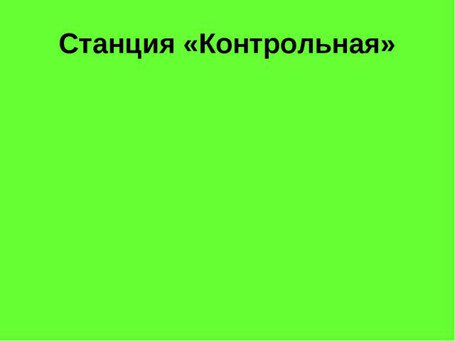 Станция «Контрольная»