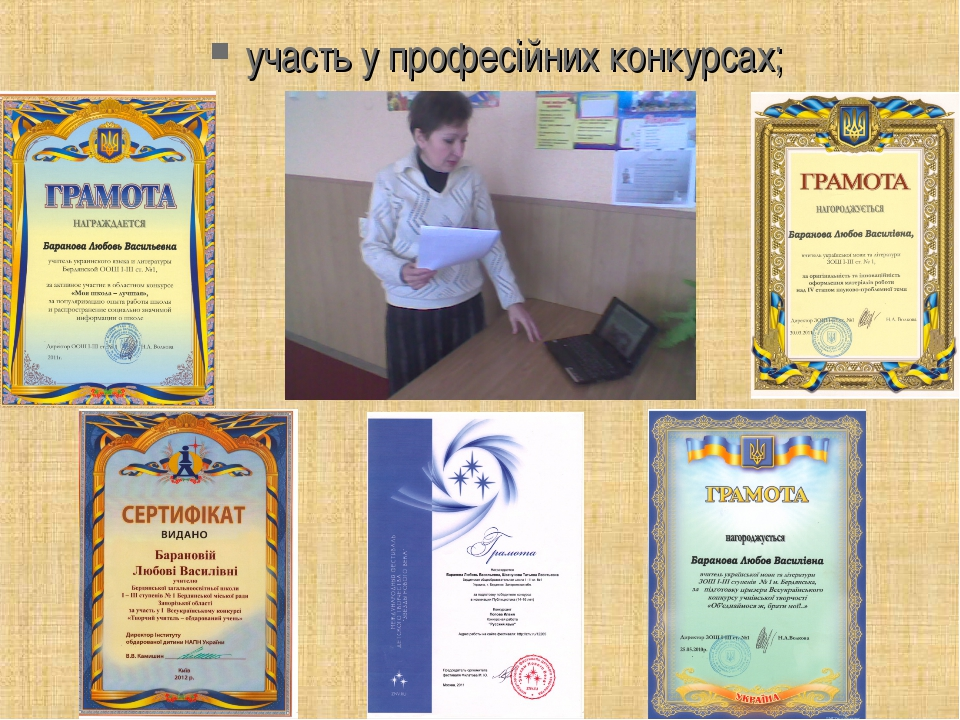 участь у професійних конкурсах;