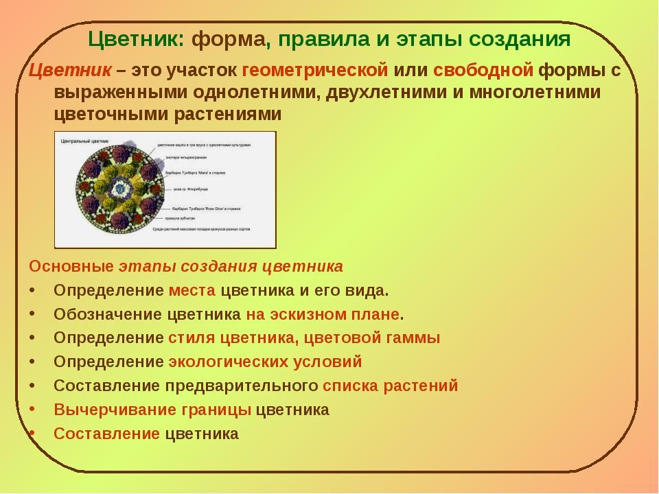 Цветник: форма, правила и этапы создания Цветник – это участок геометрической...