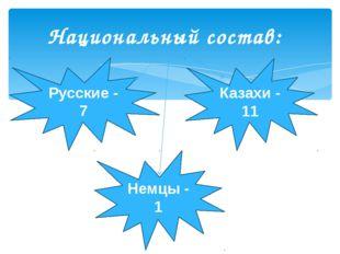 Национальный состав: Русские - 7 Казахи - 11 Немцы - 1