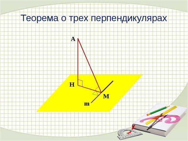 Теорема о трех перпендикулярах А Н М m