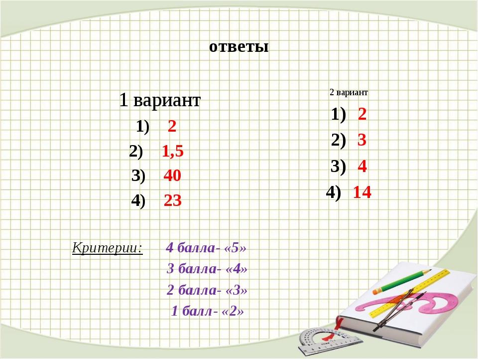 ответы 1 вариант 2 1,5 40 23 Критерии: 4 балла- «5» 3 балла- «4» 2 балла- «3»...