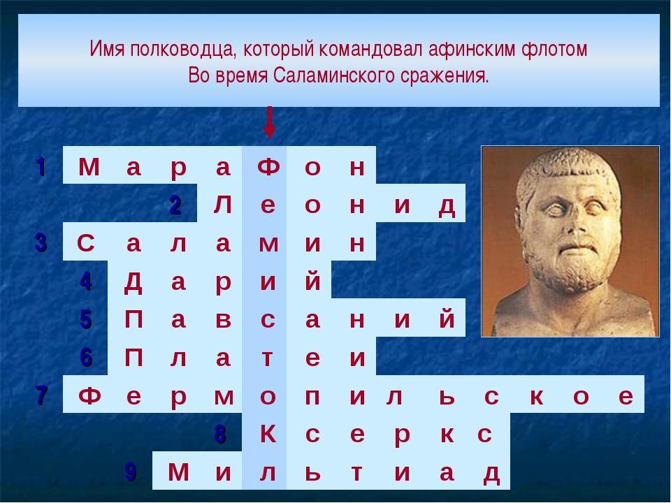 Имя полководца, который командовал афинским флотом Во время Саламинского сраж...