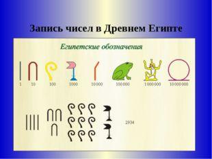 Запись чисел в Древнем Египте
