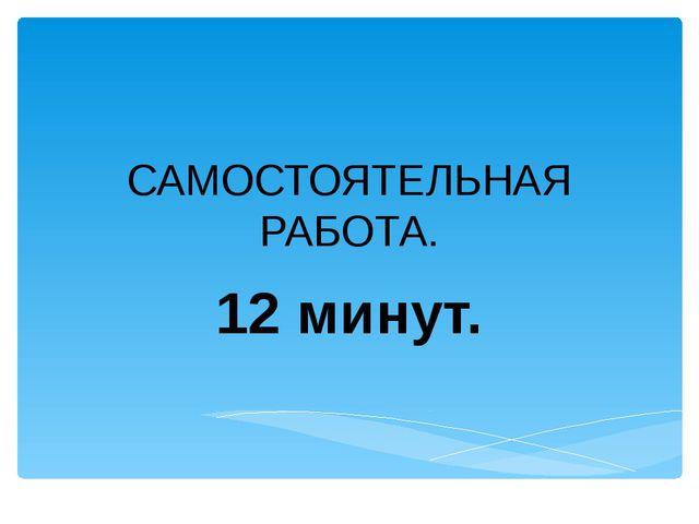 САМОСТОЯТЕЛЬНАЯ РАБОТА. 12 минут.