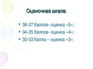 Оценочная шкала: 36-37 баллов- оценка «5»; 34-35 баллов- оценка «4»; 30-33 ба