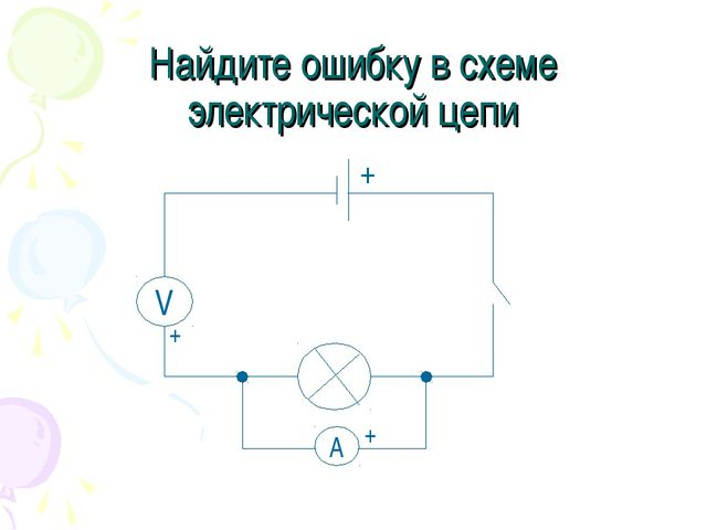 Найдите ошибку в схеме электрической цепи V A + + +