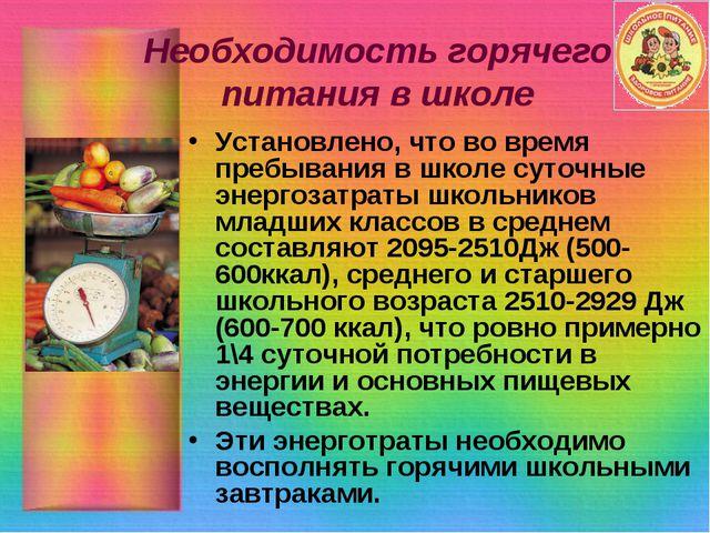 Необходимость горячего питания в школе Установлено, что во время пребывания в...