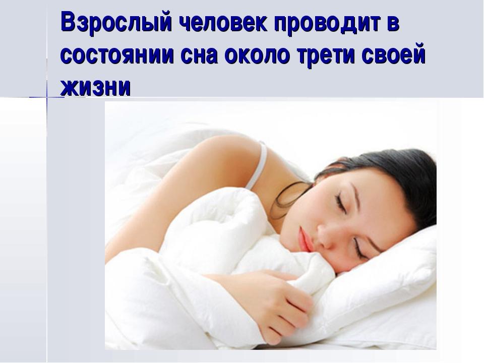 Взрослый человек проводит в состоянии сна около трети своей жизни