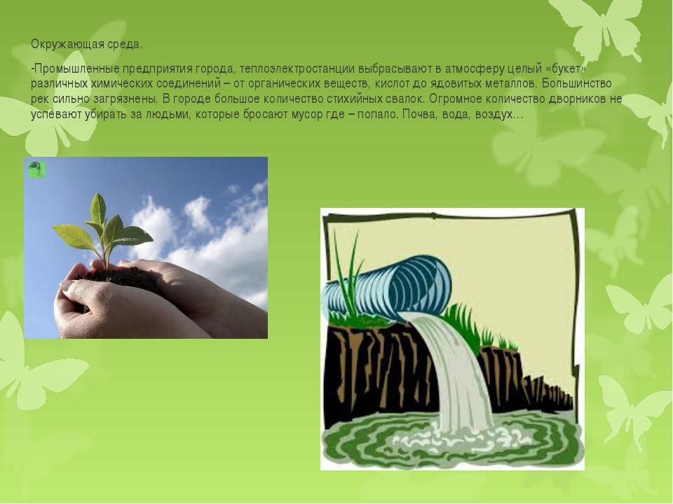 Окружающая среда. -Промышленные предприятия города, теплоэлектростанции выбра...