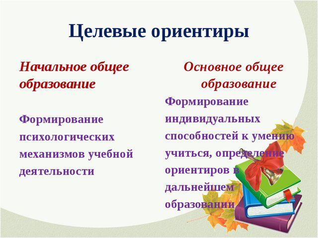 Целевые ориентиры Начальное общее образование Формирование психологических ме...