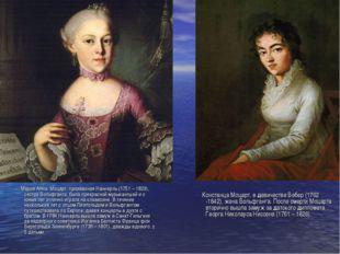 Мария Анна Моцарт, прозванная Наннерль (1751 – 1829), сестра Вольфганга, был