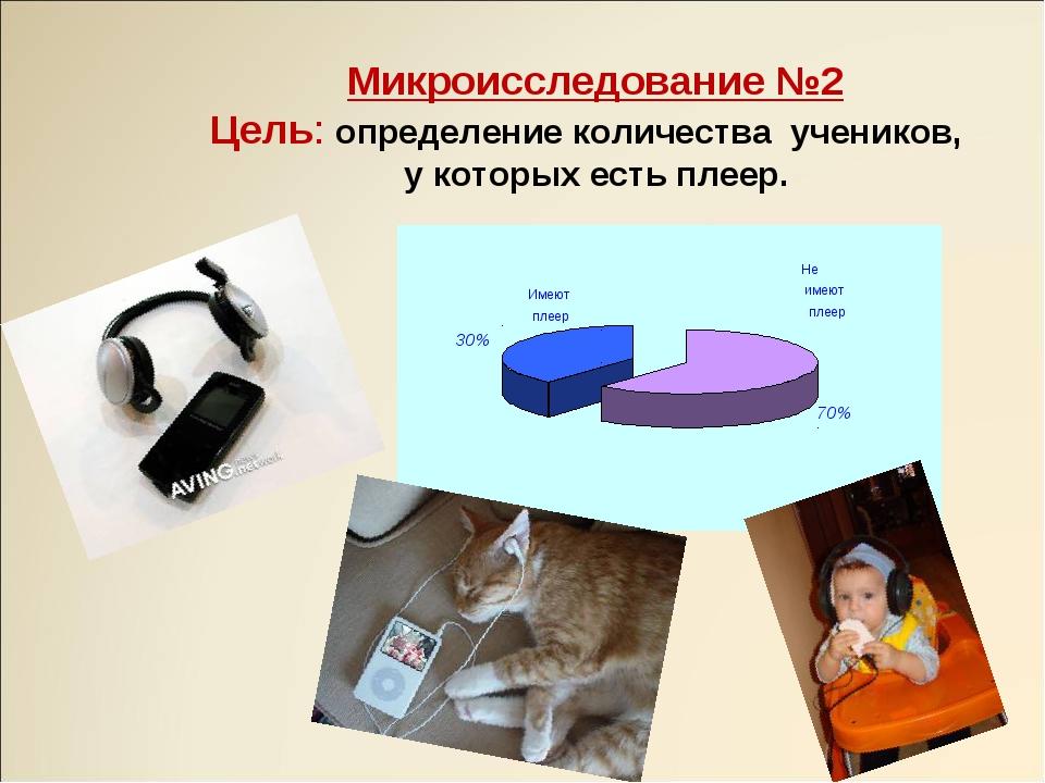 Микроисследование №2 Цель: определение количества учеников, у которых есть пл...