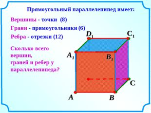 А В С D1 С1 Вершины - точки Грани - прямоугольники Ребра - отрезки А1 D В1 Пр