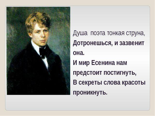 Душа поэта тонкая струна, Дотронешься, и зазвенит она. И мир Есенина нам пред...