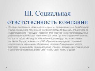 III. Социальная ответственность компании Основная деятельность «Мангазейского