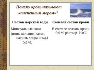 Почему кровь называют «плененным морем»? Состав морской водыСолевой состав